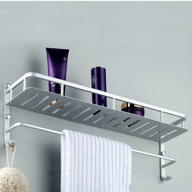 50cm Aluminum Single Tier Bath Wall Shelf Towel Washing Shower Basket Bar Shelves With Hooks Bathroom Accessories Storage 802816-in Bathroom Shelves ...