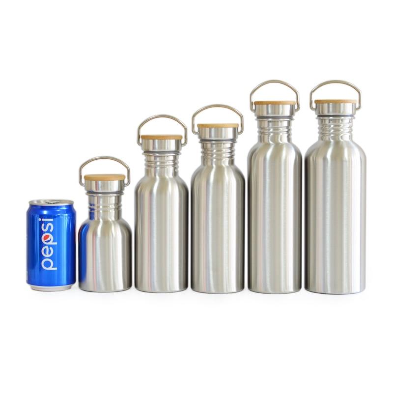 BPA szabad rozsdamentes acél vizes palack bambusz fedéllel sportlombik szivárgásmentes élelmiszer-korsó utazási jóga kerékpáros túrázáshoz kemping