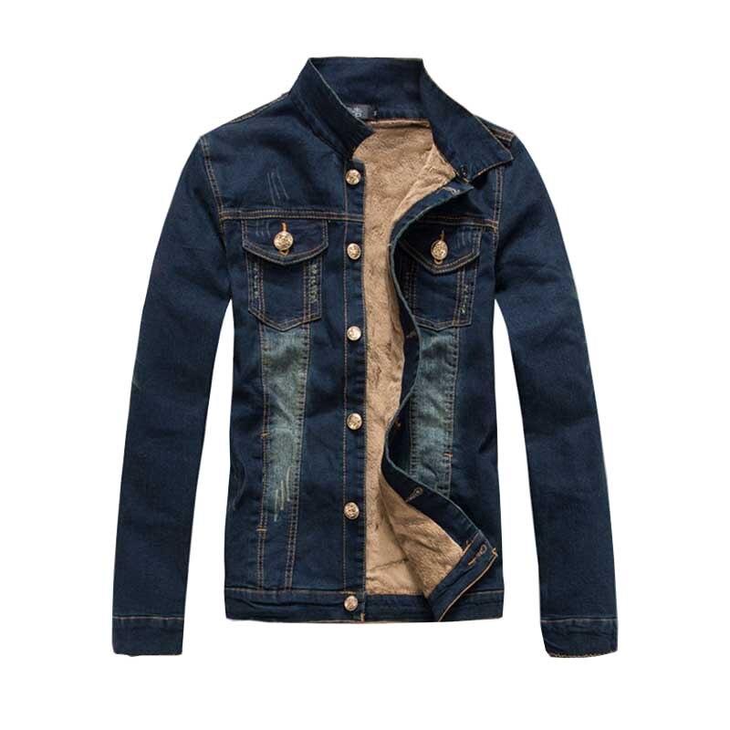 Autumn Winter Cowboy Windbreaker Denim Fleece Jacket Men Casual Jeans Jacket Warm Coat Slim Fit OUTWEAR Washed Cotton Clothing