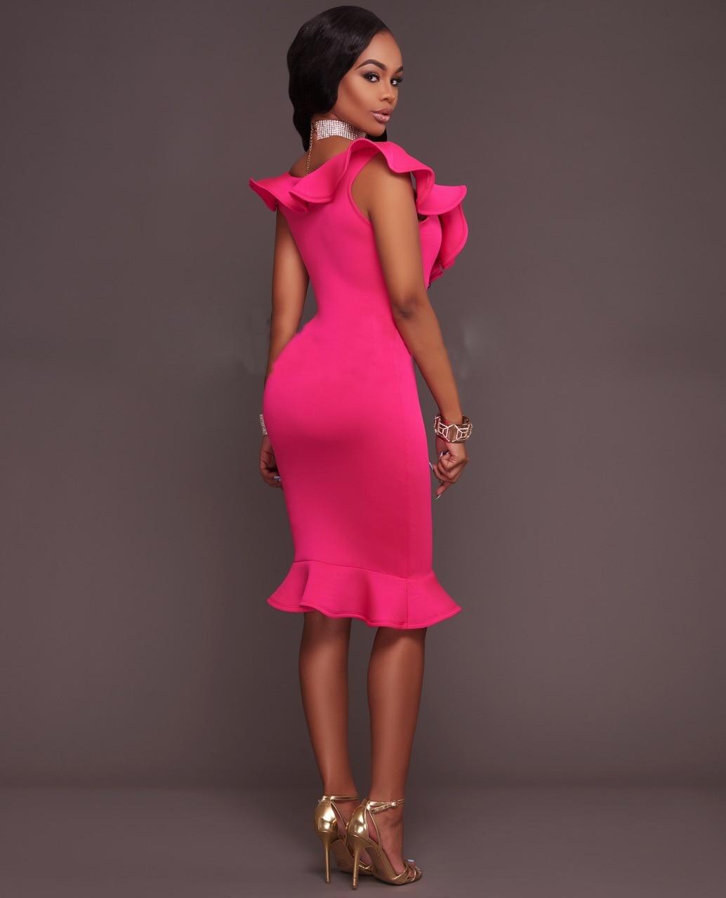 2017 Fashion Women Sexy Ruffles Dress Deep V-neck Slim Sleeveless Bodycon Dress Summer Party Yellow Casual Elegant Dresses 6