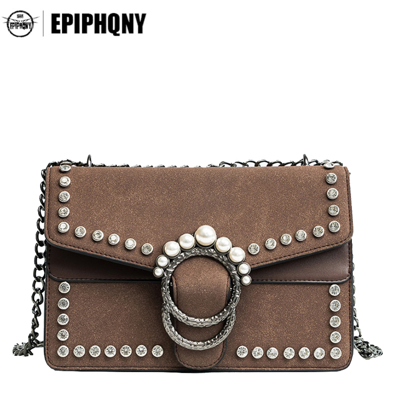 Epiphqny Brand Fashion Designer Handbags Vintage High Capacity Crossbody Flap for Women Luxury Pearl Decoration 2018 fashion venetian pearl decoration sunglasses brand designer luxury women round sun glasses shades spring summer style eyewear