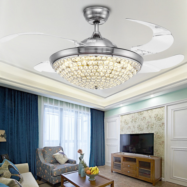 K9 Crystal 36/42inch 92/108cm 3colors dimming Ceiling Fan Modern/Contemporary Living Room Remote Control Led Fan Lights 110-220V