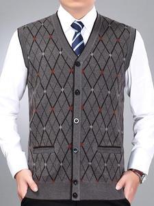 Sleeveless Sweater Vest Cardigan V-Neck Men's Winter Knit Wool Autumn Casual Fashion