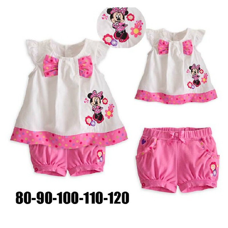 Size 5T Cute Pink Short Sleeve Girls Summer Set Top Pants Baby Suit Kids Clothes Sets Children's Wear Bebe Clothing Hot Sale