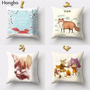 Image 2 - Hongbo housse de coussin carrée avec motif de dessin animé de renard, pour canapé, décoration de la maison, 1 pièce