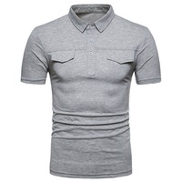 Casual Summer Double Fake Pocket Cover Polo Shirts Short Sleeves Men Slim Fit Solid Shirts Polos