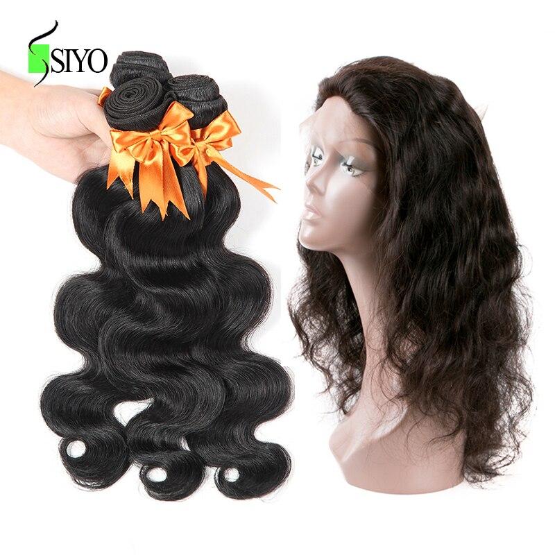 SIYO Hair 360 Lace Frontal With Bundle Brazilian Hair Body Wave Human Hair 3 Bundles With 360 Frontal Closure 4 Pcs/Lot Remy