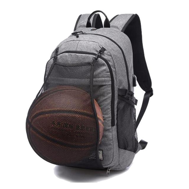 Basketball Sports Gym Bags Backpack School Bag For Soccer Ball Men Laptop Football Net Usb Charging