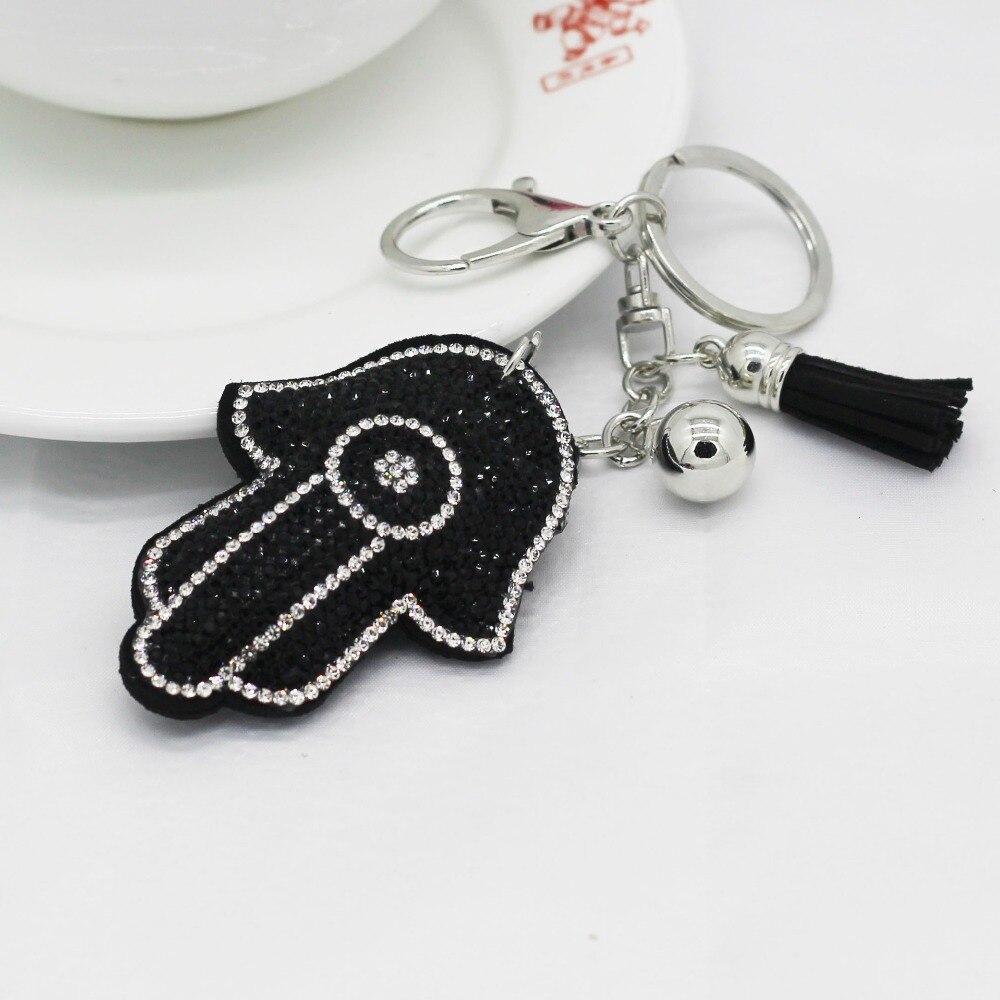 2017 Fashion Key Chain Women Female Rhinestone Leather Tassel Hand Pendant Key Ring Clip keyrings for gift Bags Souvenirs