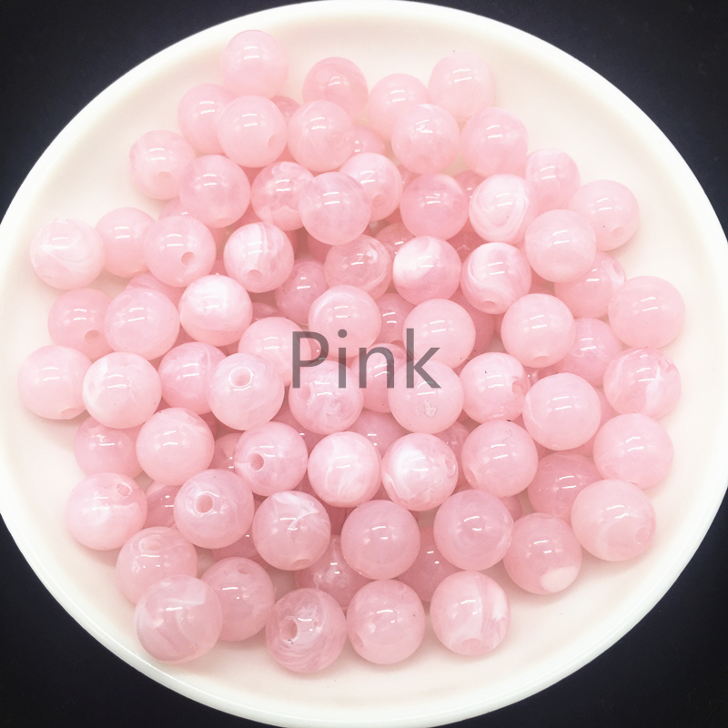 New 6 8 10mm Round Acrylic Beads Spacer Loose Beads For Jewelry Making DIY Bracelet Pink(China)