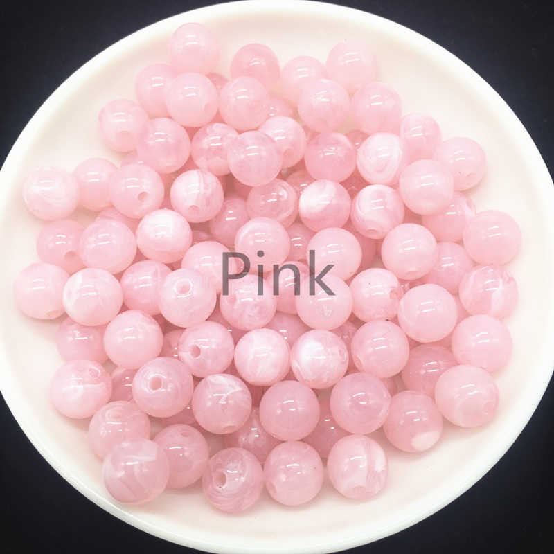 Novo 6 8 10mm redondo contas de acrílico espaçador solta contas para fazer jóias diy pulseira rosa