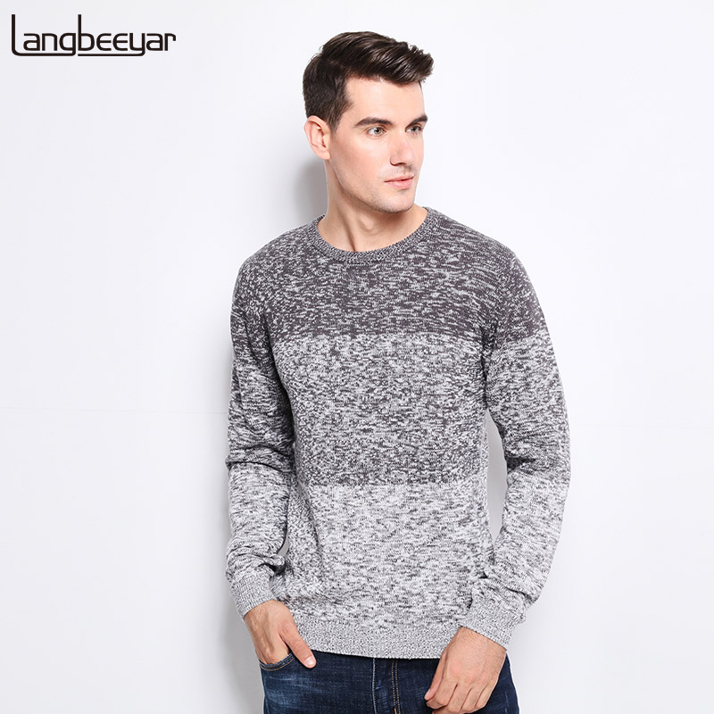 Новый осень-зима брендовая одежда свитер Для мужчин тенденции моды О-образным вырезом Slim Fit Зимний пуловер Для мужчин 100% хлопковый вязаный свитер Для мужчин