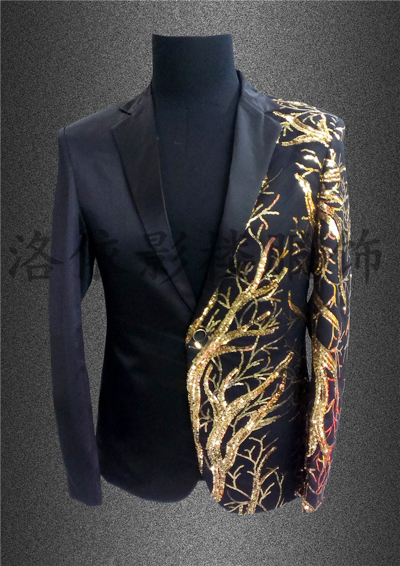 Free ship font b mens b font stage performance black red sequins embroidery golden tuxedo suit