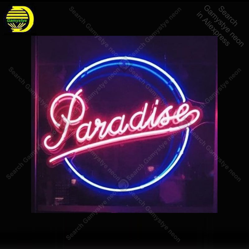 Neon Light Bulbs >> Us 128 0 Neon Sign For Paradise Neon Bulb Sign Handcraft Signboard Hotel Restaurant Neon Light Bulb Sign Light Up Wall Lamps Neon Corazon In Neon