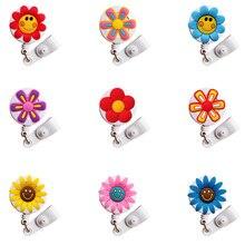 20 Pcs Mini Flower Nurse Id Card Holder Retractable Id Badge Holder Badge Reel Cute 2019 New Badge Clip Retractable for Work