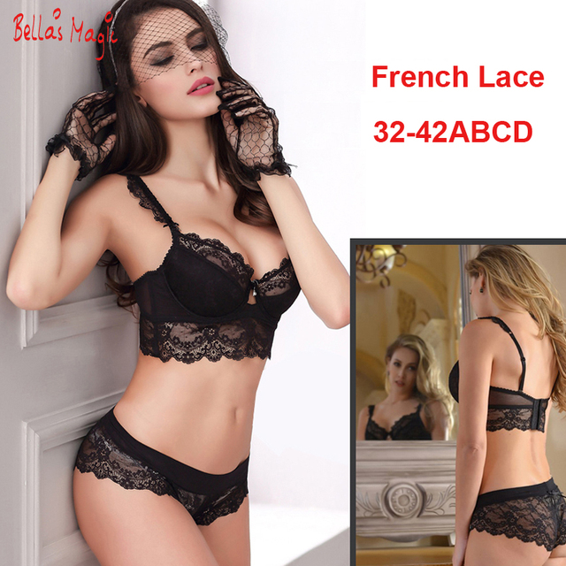 32 34 36 38 40 42 B C D Big Cup French Lace Bra Panties Set Thin Cup  Bombshell Underwear Set Sexy Lingerie Set   Intimates 777738a5b