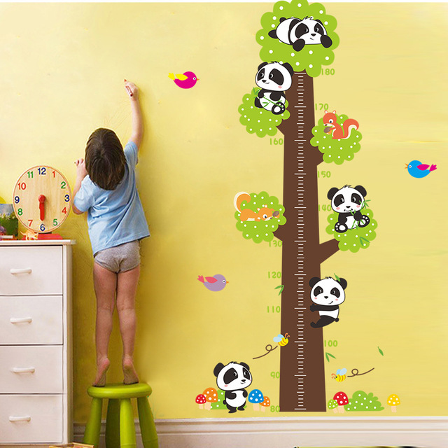 Height Chart Wall Sticker For Kids Rooms Cartoon Panda Height Ruler ...