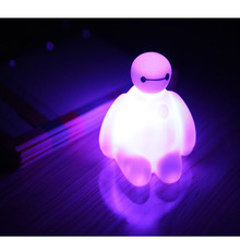 Big Hero Toy Cartoon Movie Baymax LED PVC Action Figures Toys Kids Boys cute Gift