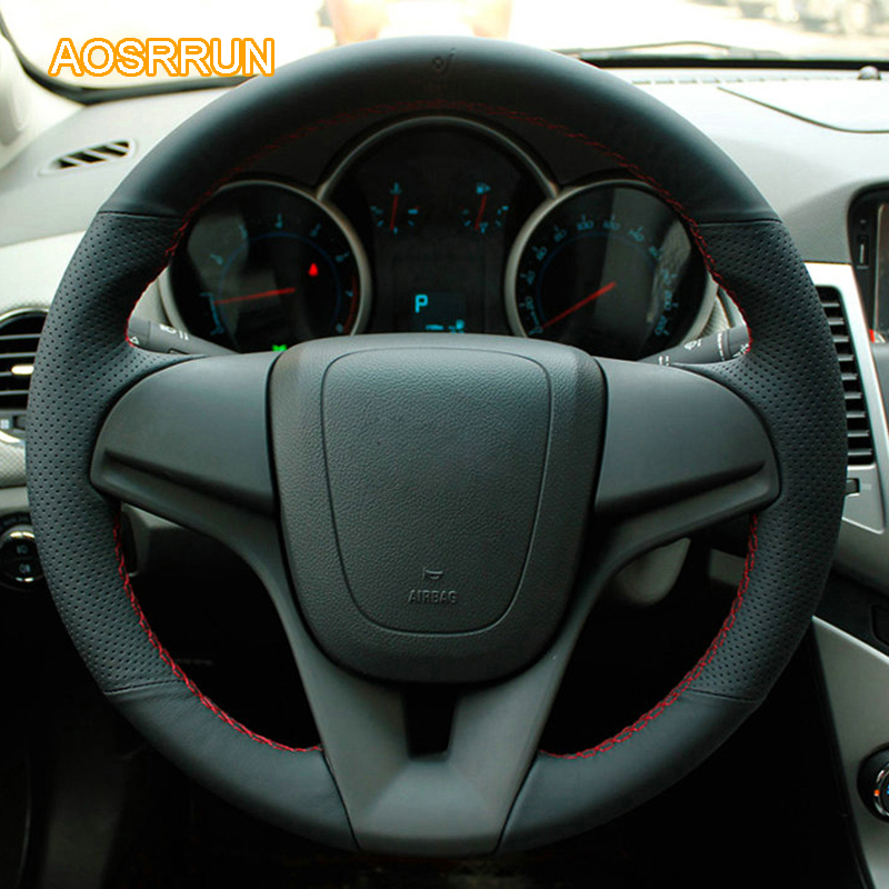 AOSRRUN genuine leather car steering wheel cover Car accessories For Chevrolet Cruze sedan hatchback 2009 2010 2011 2012 2013