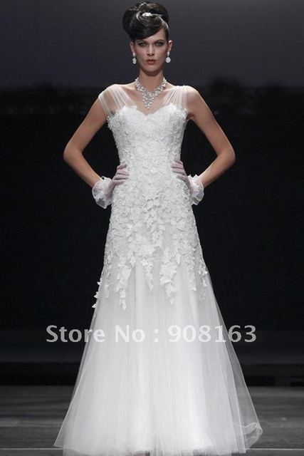 241aaa36e37f 2012 Sheer Sleeve Tulle Wedding Gown sheer cap sleeves on couture wedding  gown add a shimmery tough to this exquisite choice