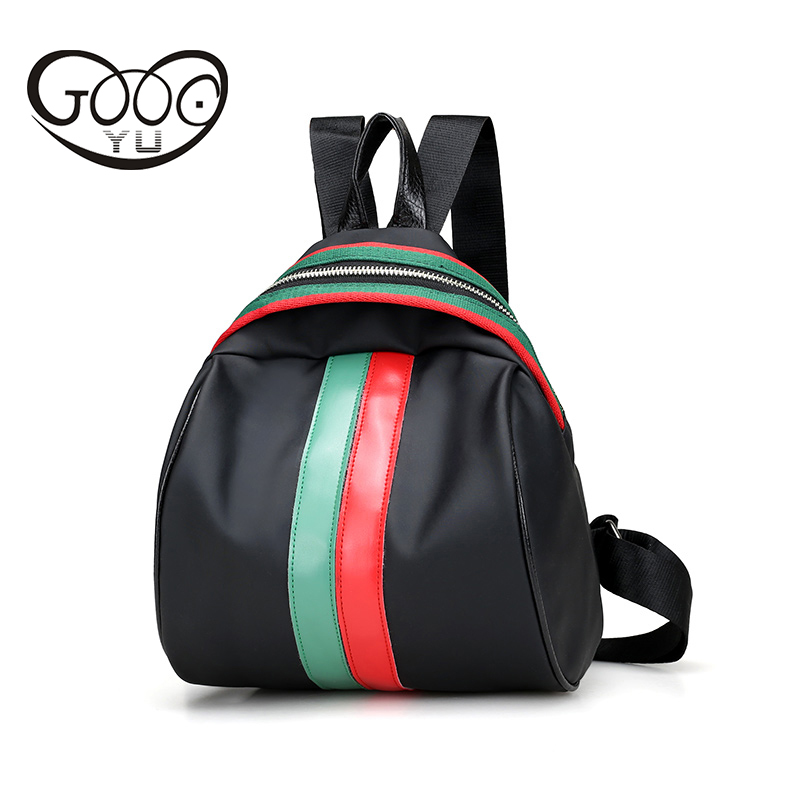 Semi circular nylon waterproof leather backpack women travel bag Red and green color decoration backpacks for