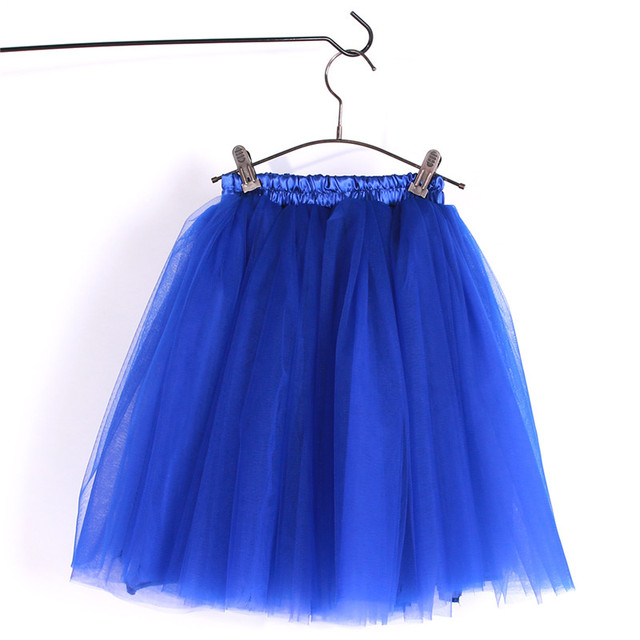 Fluffy Layered Tulle Tutu Skirt Ballet Dance Party Wedding Pettiskirt for Big Girl 7-16 Years Children and Adult Size Royal Blue