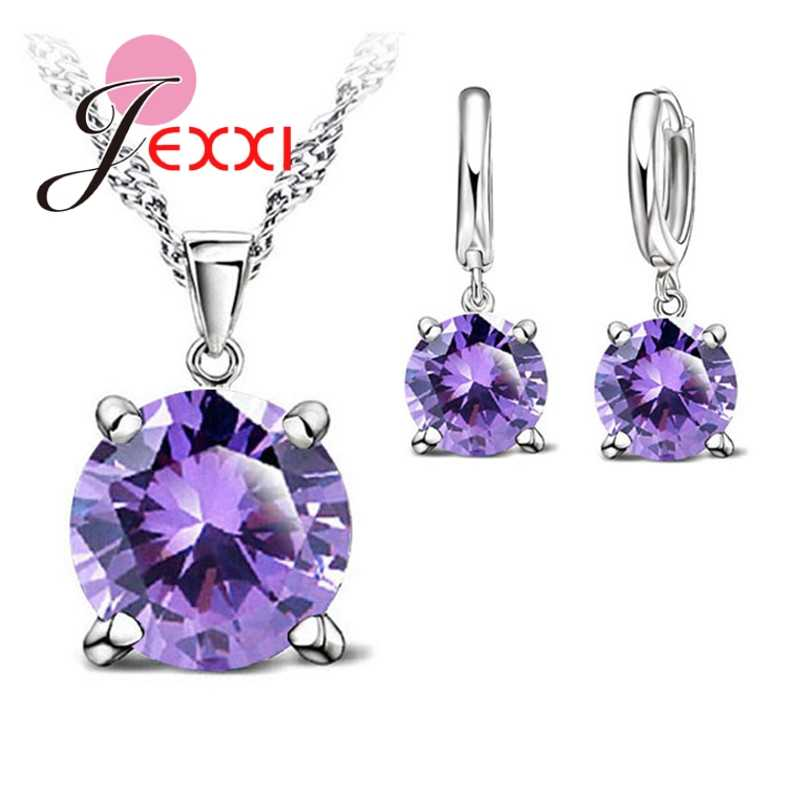 925 Sterling Silver Color Jewelry Sets 4 Claws Cubic Zirconia CZ Pendant Necklace Earring Fashion Jewelry For Women SET