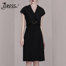INDRESSME 2019 New Sexy Short Sleeve V Neck Button Hollow Out Top With Knee Length Skirt Summer Bodycon Two Sets Wholesale