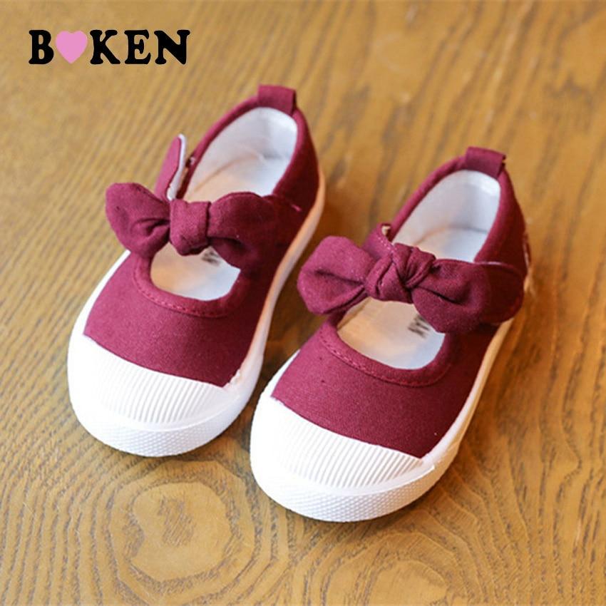 BOKEN Kids Baby Girl gadījuma audekls apavi Bērnu mīkstās kurpes - Bērnu apavi