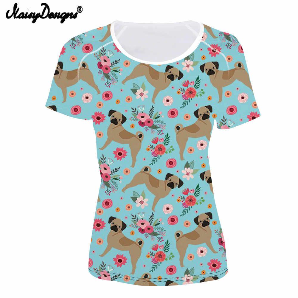 NoisyDesigns Puggle Bunga Abstrak Print Tee 2018 Musim Panas Lengan Pendek Kasual T Shirt O Leher Kain Wanita Tumblr Harajuku Kawaii