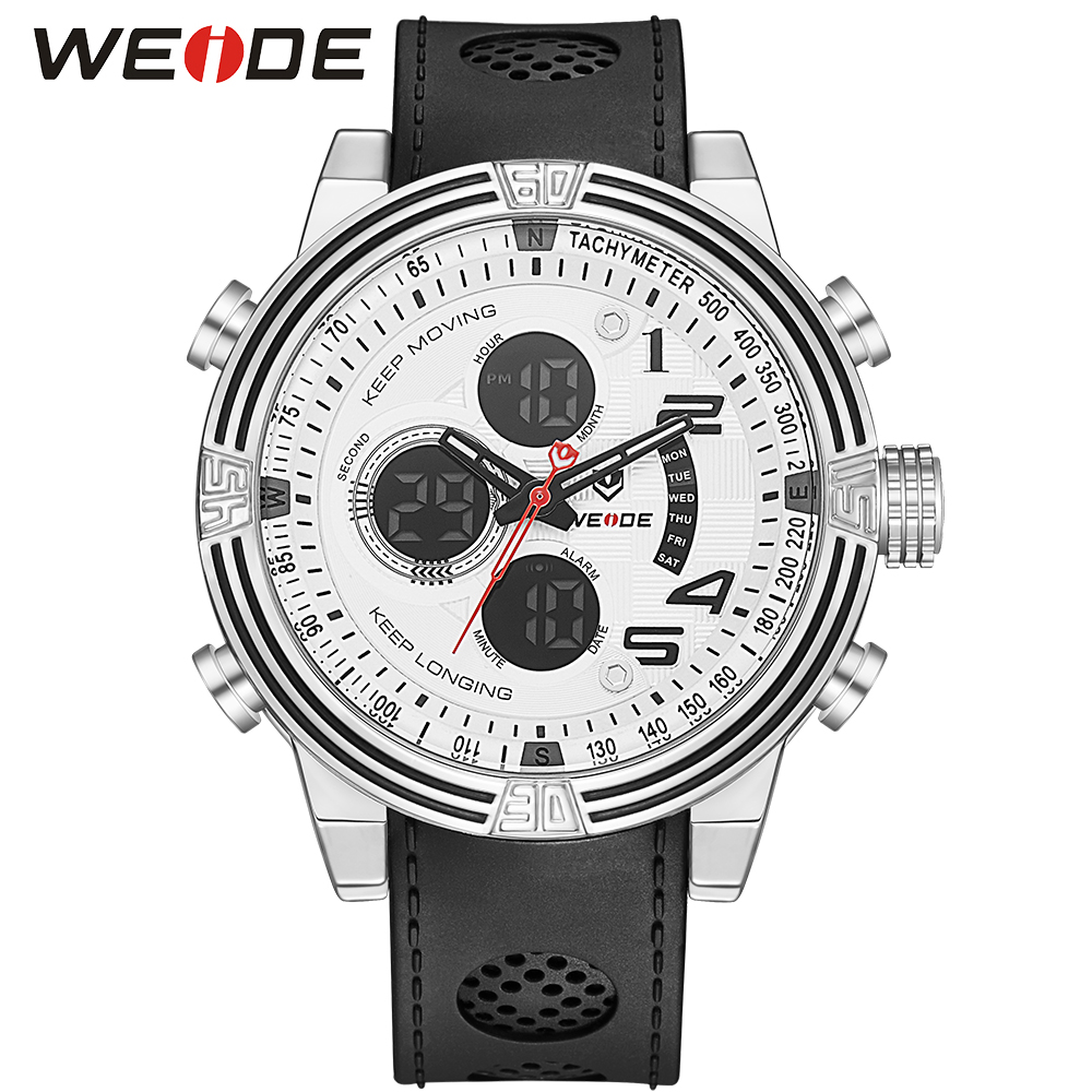 WEIDE Men Running Sports Quartz Watch Black Strap Dual Date Day Back Light Analog Digital Alarm Clock Military Watches weide wh2309b military sports quartz watch double movts analog digital led dual time display alarm wristwatch for men