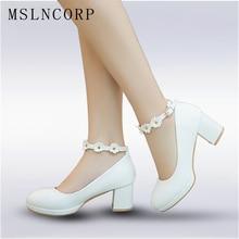 цены plus size 34-43 Women Bridal High Heels Pumps flowers Ankle Strap Platform Dress Shoes Wedding Shoes zapatos Ladies Office Pumps