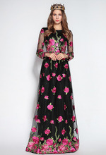 Luxury New Arrival Women's O Neck Long Sleeves Embroidery Floral Elegant Maxi Runway Dresses