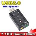 Внешний USB АУДИО АДАПТЕР ЗВУКОВАЯ КАРТА ВИРТУАЛЬНЫЙ 7.1 ch USB 2.0 Микрофон Спикер Аудио Микрофон Гарнитуры 3.5 мм Разъем Конвертер