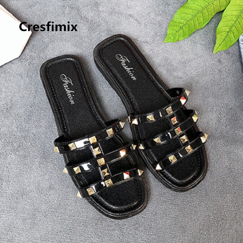 Cresfimix women fashion black summer rivet sandal shoes lady cute comfortable sandals leisure sandals sandalias de mujer a620 топ mango топ
