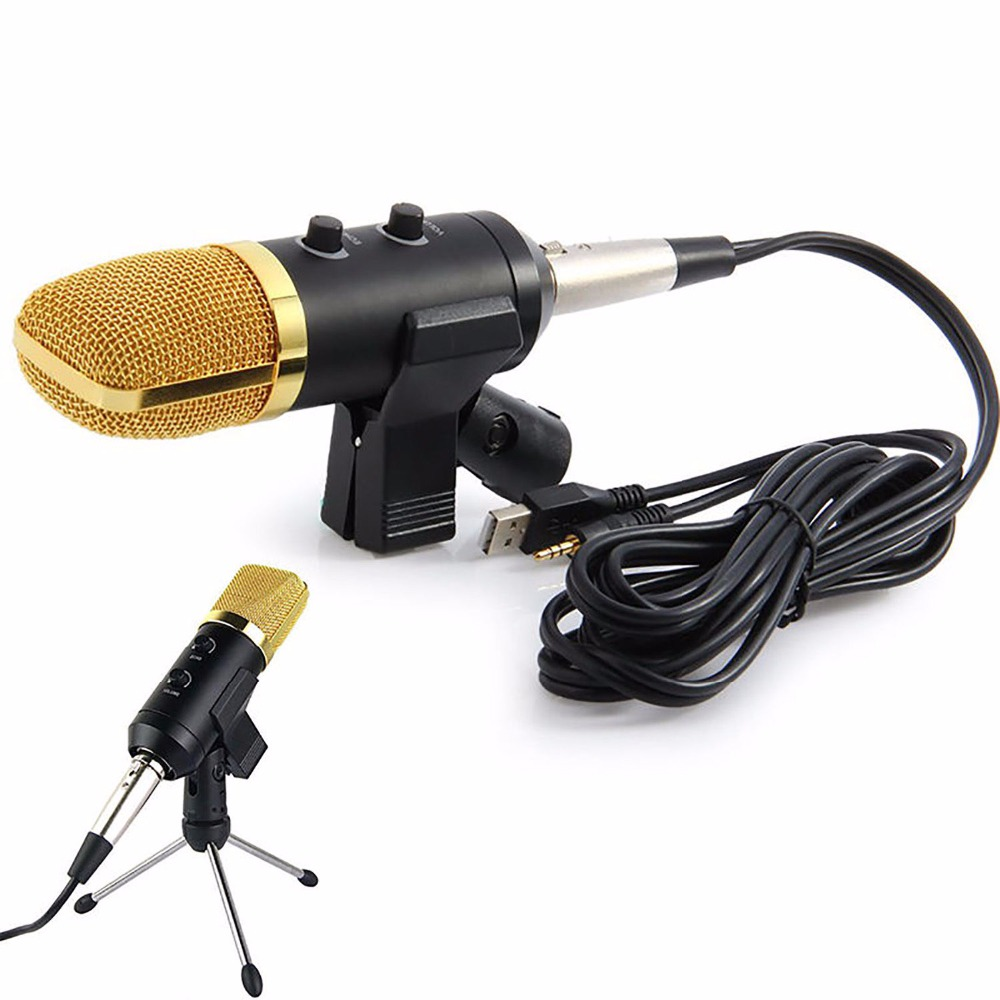 volemer mk f100tl wired microphone usb condenser sound recording mic with stand for chatting. Black Bedroom Furniture Sets. Home Design Ideas