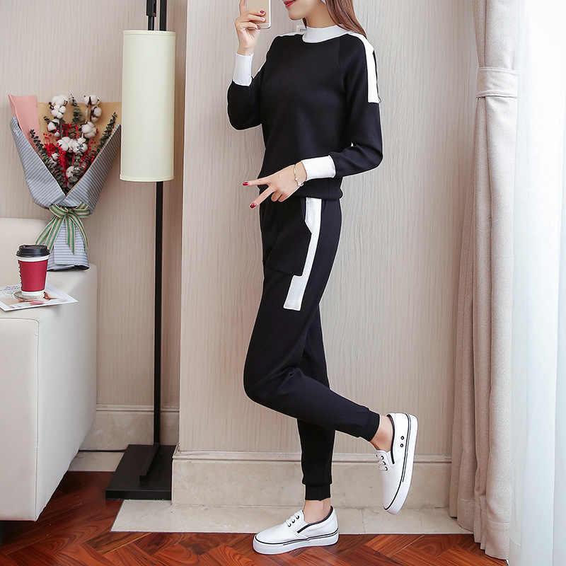 ... 2018 комплект спортивной одежды для женщин осень из двух частей наборы  для ухода за кожей однотонная 63e9200527b