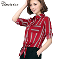 2017 Bow Chiffon Blouse Shirt Women's Clothing Korean OL Style Striped Shirt Women Blouse Bow Red/White Shirt Women Tops Brand