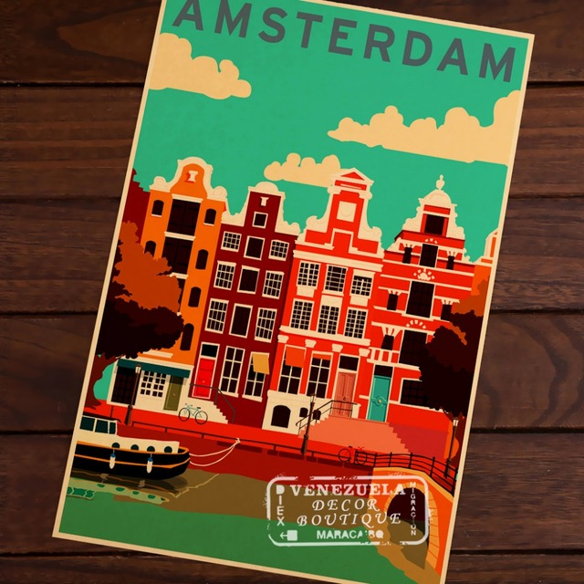 Amsterdam Netherlands Map Vintage Travel Poster Classic Retro Kraft