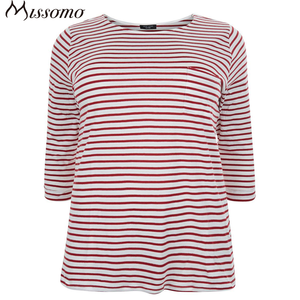Kissmilk Plus Size New Fashion Women Clothing Casual Striped Streetwear Basic Tops Loose O Neck T Shirt 3XL 4XL 5XL 6XL in T Shirts from Women 39 s Clothing