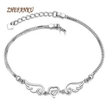 Wholesale Products Korean Fashion Jewelry Silver color Heart-shaped crystal Bracelet Jewelry