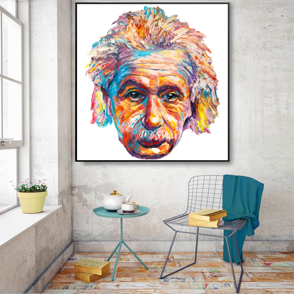 Palette Decoration Us 58 Albert Einstein Modern Art Palette Knife Painting Texture Oil Painting On Canvas For Home Decoration Wall In Painting Calligraphy From