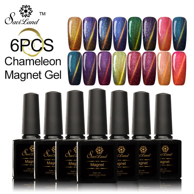 Saviland 6pcs 10ml 3D Glitter Chameleon Cat Eye Magnet Effect Soak Off UV&LED Gel Nail Polish Varnishes Nail Gel Lacquer