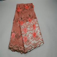 2018 Net Lace African Lace Fabric Handmade Ofstones and beads 3D Flowers For Wedding Dress HJ115 1