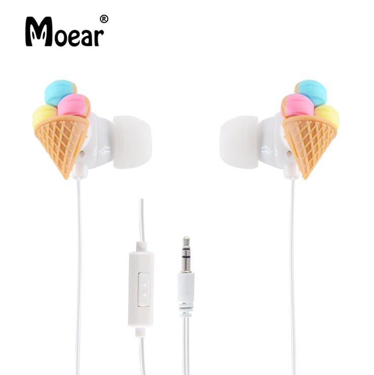 Cute 3.5mm Cartoon Ice Cream 3D Stereo Earphones Kids Wired Earbuds Headsets