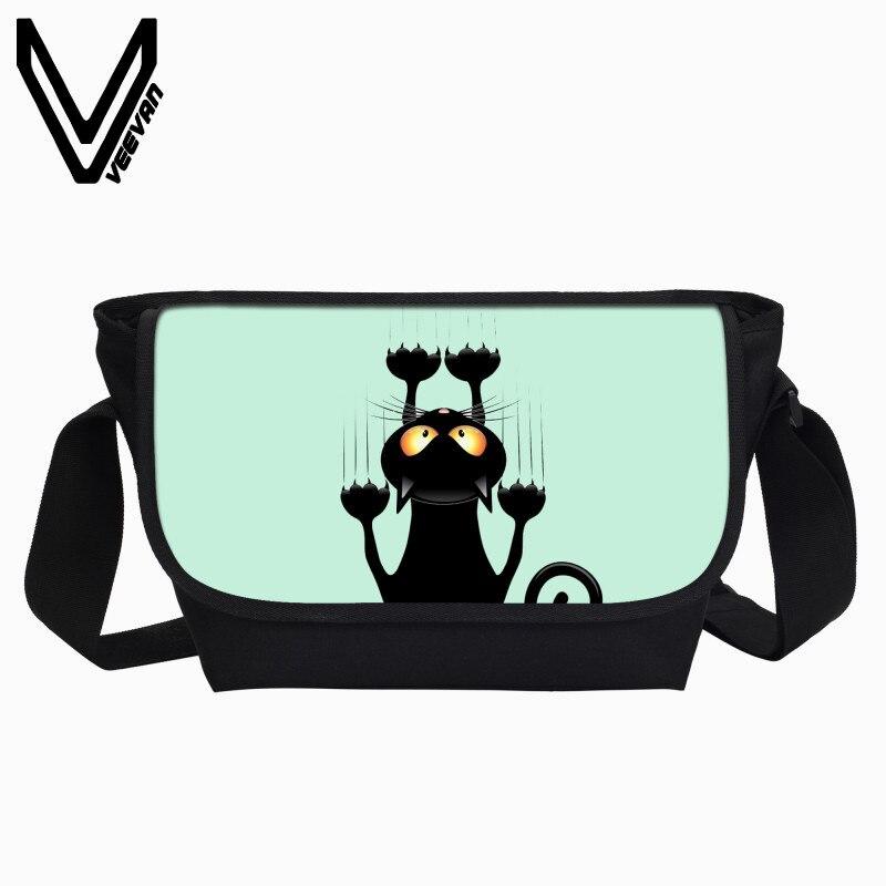 Veevanv Новая Школа BookBag прохладный черный кот печать сумочку Девушки Портфели Кроссбоди сумка Для женщин сумка моды сумка