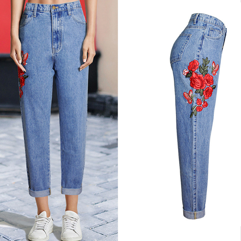 Baggy Boyfriend   Jeans   For Women High Waist Plus Size   Jeans   Rose Floral Embroidered   Jeans   Vintage Women Bottoms Denim Straight