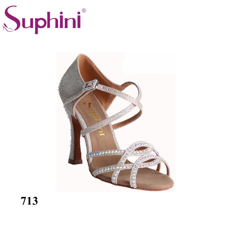 Suphini 713 Hot Sale Women Latin Dance Shoes Gold Glitter Dance Shoes  Soft Leather Sole Ladies Ballroom Latin Dances Shoes 2017 ladies glitter rainbow colorful salsa latin shoes women tango ballroom dancing shoes high quality mesh soft sole wk024