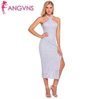 ANGVNS Women Sexy Formal Dress Halter Cold Shoulder Cross Front Split Side Hollow Out Backless Female Vestidos Slim Party Dress