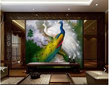 Customized 3d photo wallpaper 3d wall murals wallpaper Peacock Chinese background wall paper 3d living room wallpaper decoration